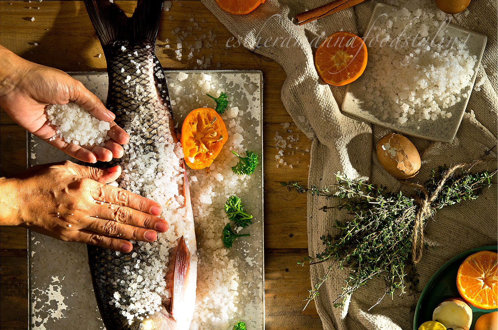 Fish preparation for supper.Lifestyle image for an editorial magazine.