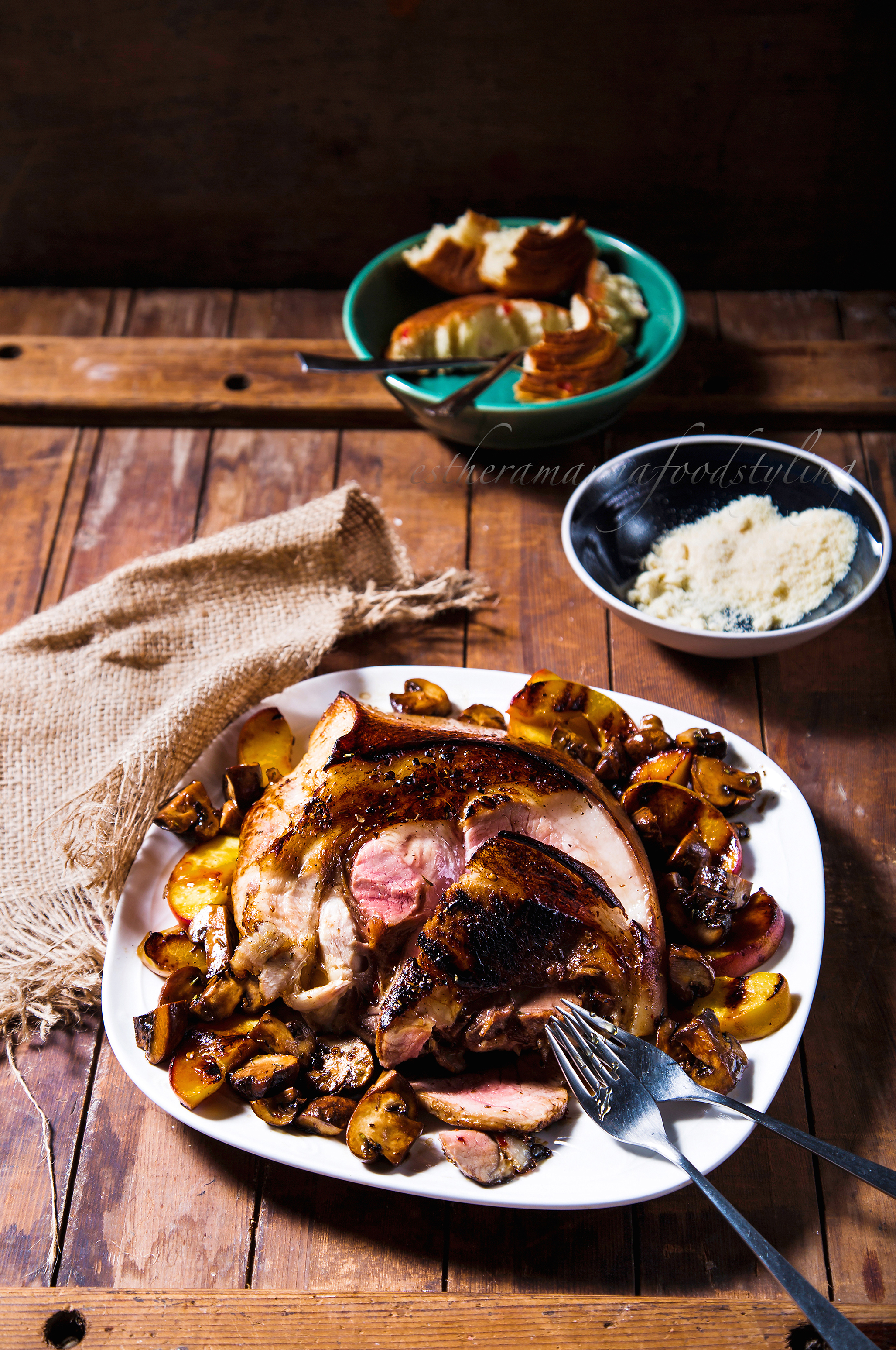 Rustic food ,Pork with Earthy flavours of Mushrooms,Food styling