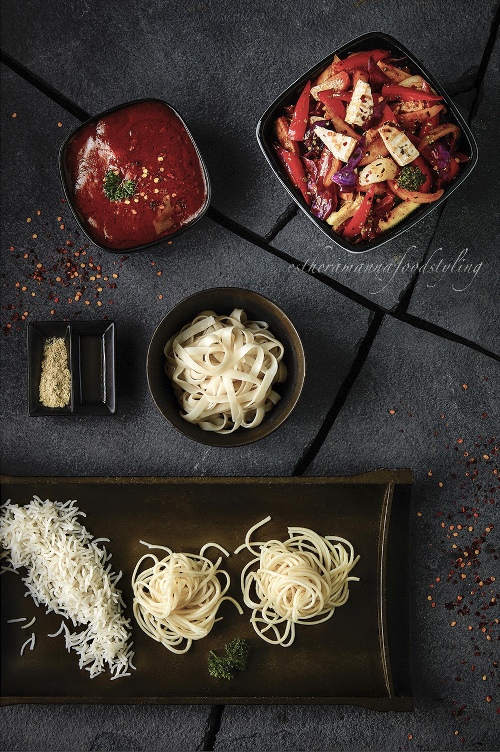 Stir fried vegetables and tofu with noodles Restaurant menu,foodstylist