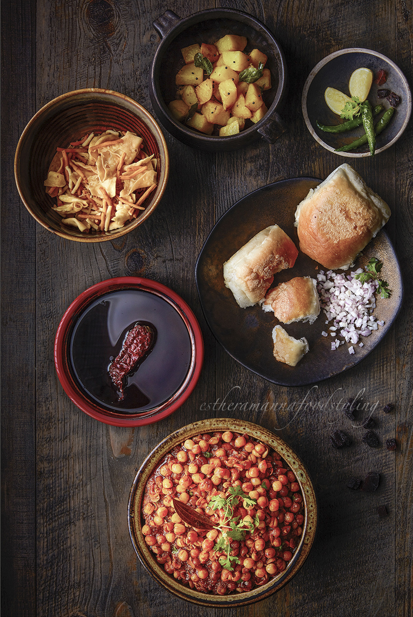 Indian snacks,cuisine ,misal pav,foodstylist and foodstyling