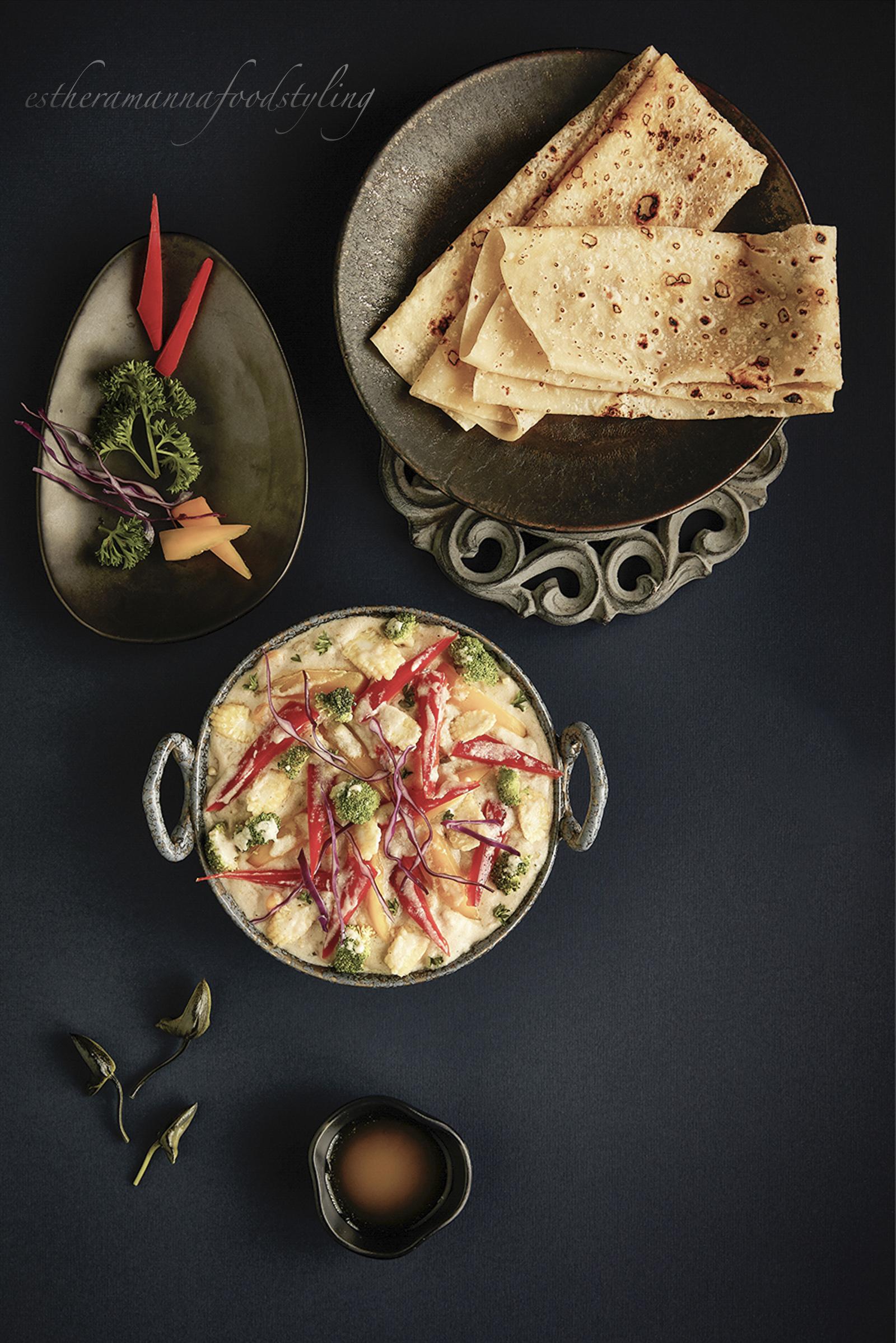 Indian cuisine,stir fried vegetables,rumali roti,textures,top shot,foodstylist