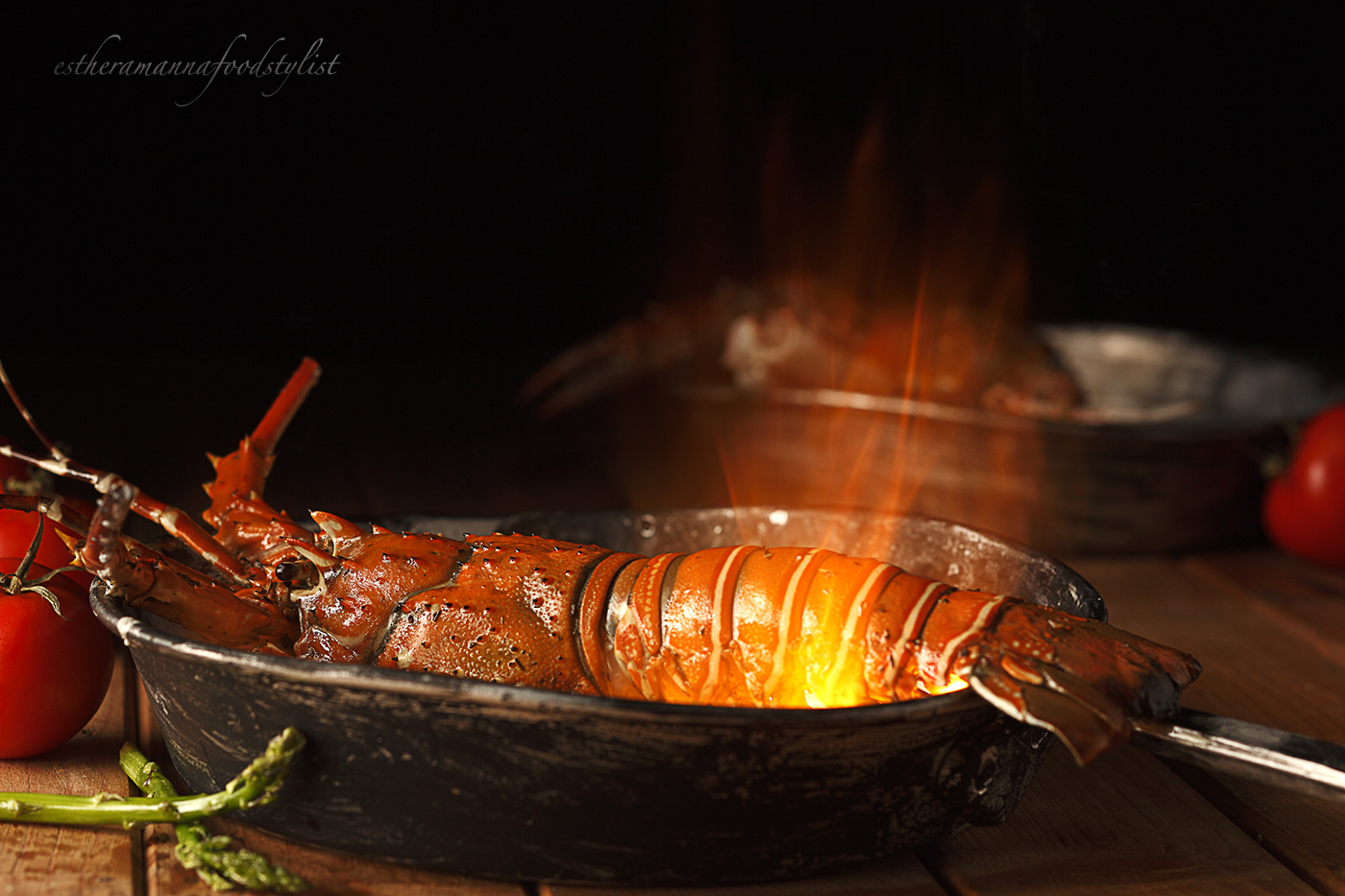 Special effects in food,Grilled lobster flambèd in white wine.