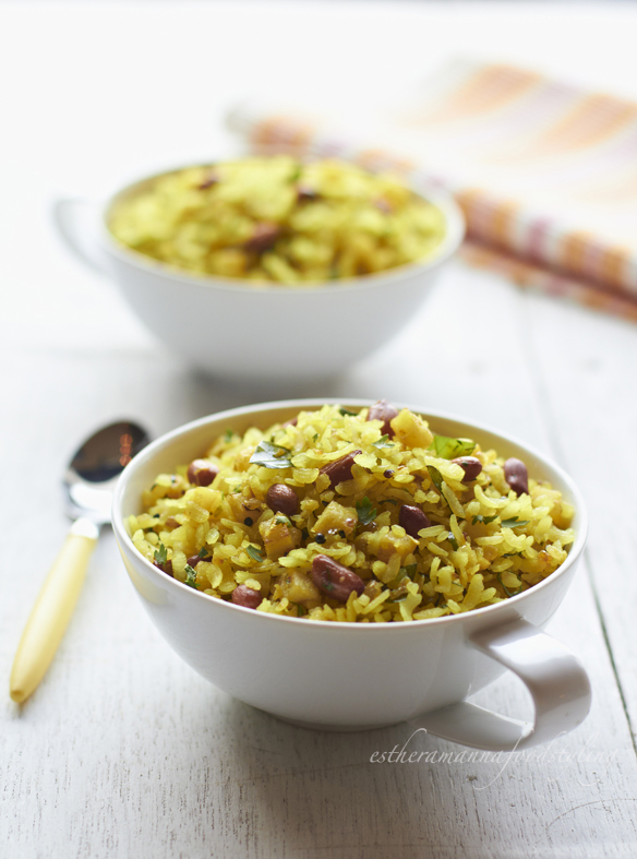Indian snack,Poha foodstyling for The Aurus,in Mumbai,for the cookery section in the editorial magazine called Femina.