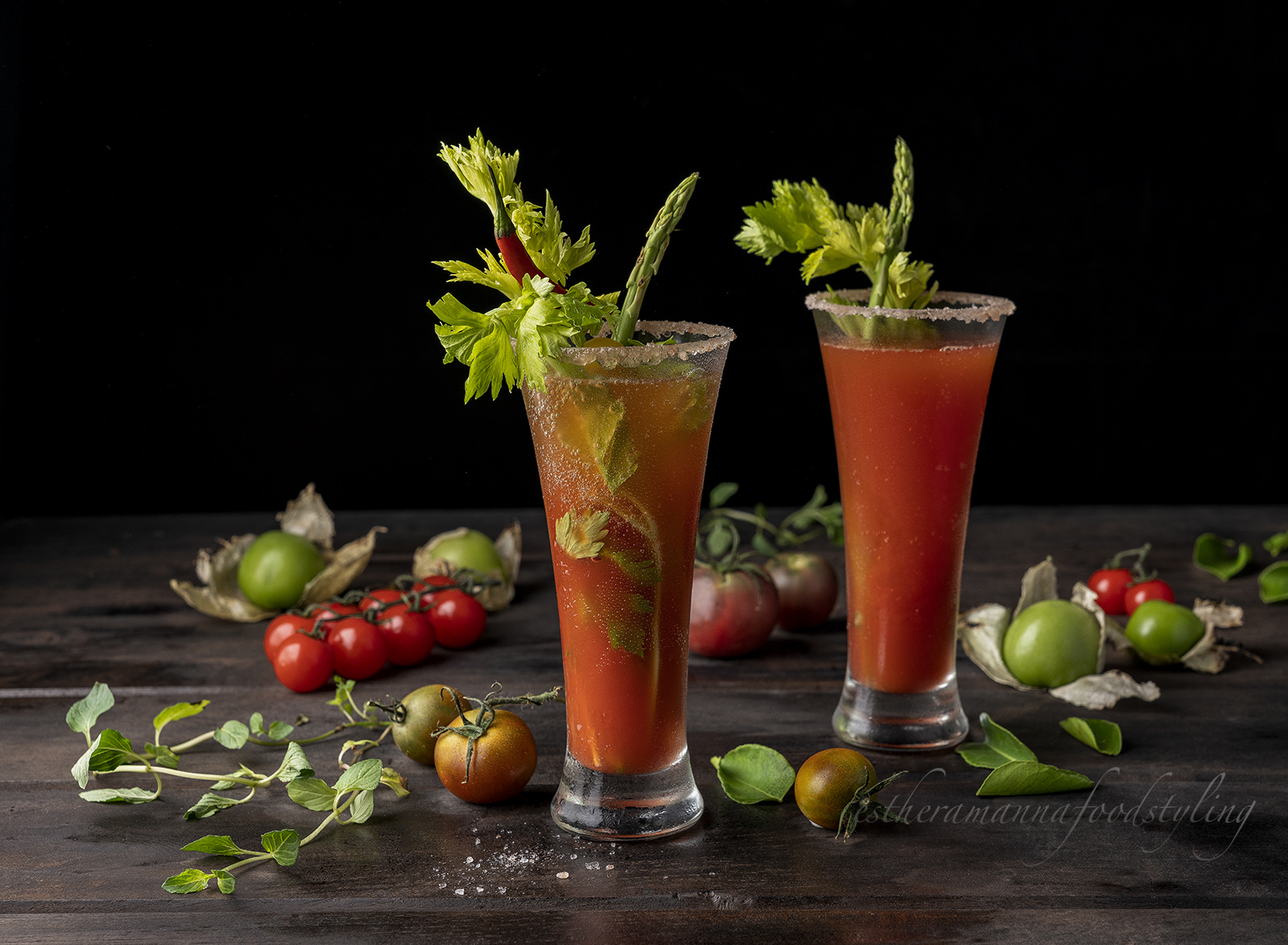 Refresher cocktail with fresh tomato juice